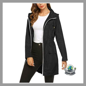 Womens Solid Waterproof Hooded Raincoat Windproof Coat/Jacket (AC) - Jackets