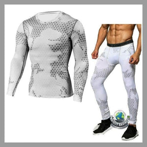 Mens T-shirt Fast Drying Pants Camouflage Sports Suit (AF) - White / L - Sports Suit
