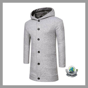 Mens Winter Slim Fit Hooded Solid Long Trench Jacket (AC) - Gray / L - Jackets