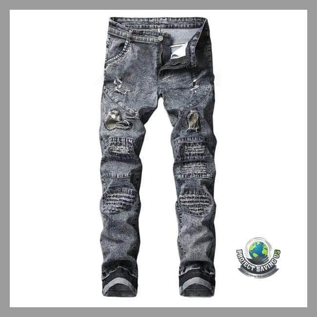 Mens Stretchy Ripped Jeans Destroyed Fit Denim Pants (TT) - Pants