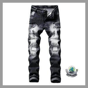 Mens Stretchy Ripped Jeans Destroyed Denim Pants (AF) - Pants