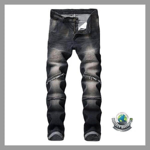 Mens Stretchy Ripped Jeans Destroyed Fit Denim Pants (FS) - Pants