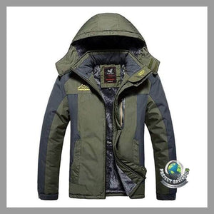 Mens Casual Autumn Winter Long Sleeve Hooded Zipper FOutdoor Jacket (WA) - Army Green / L - Jackets