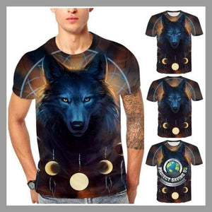 Mens Wolf Design Short Sleeved T-Shirt (NE) - T-Shirts