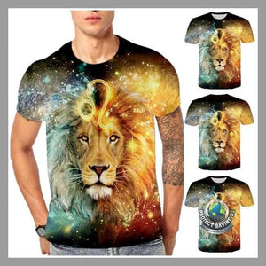 Mens Lion Design Short Sleeved T-Shirt (FD) - T-Shirts