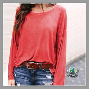Womens Casual Long Sleeve Loose Shirt (TT) - Red / L - Shirts
