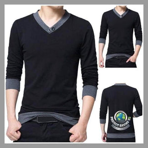Mens Casual Long Sleeve Shirt (CH) - Black / L - Shirts