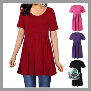Womens Short Sleeve Solid Color Slim Shirt (AC) - Shirts
