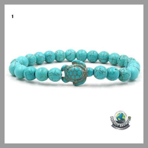Womens Style Sea Turtle Beads Bracelets With 14 colors Natural Stone Elastic Bracelet - 1 - Bracelets