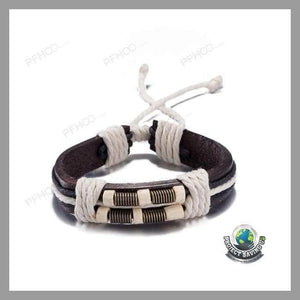 Mens Leather Bracelet in 18K Gold (NE) - Bracelets