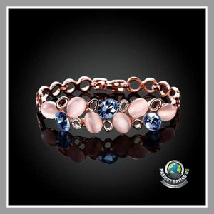 Womens 18K Rose Gold Ivory Stones Bracelet with Swarovski Elements (FD) - Bracelets