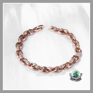 Womens 18K Rose Gold Linked Bracelet with Swarovski Elements (TT) - Bracelets