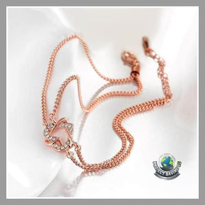Womens 18K Rose Gold Interlocking Heart with Swarovski Elements (CH) - Bracelets