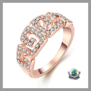 Womens 18K Rose Gold Pattern Ring Swarovski Elements (FS) - 7 - Rings