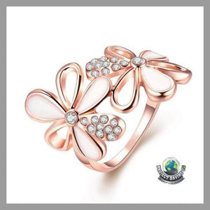 Womens 18K Rose Gold Double Flower Ring Swarovski Elements (WA) - 7 - Rings