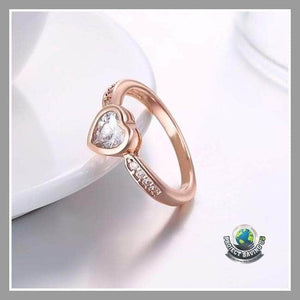 Womens Swarovski Crystal 18K Rose Gold Filled White Eternity Heart Ring (FD) - Rings