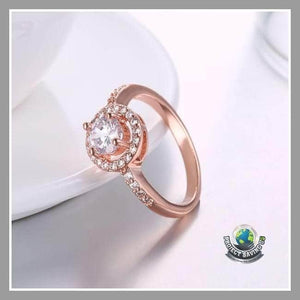 Womens Swarovski Crystal 18K Rose Gold Ring (PT) - Rings