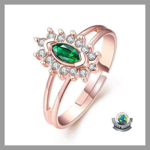 Womens 18K Rose Gold Emerald Balace Life Ring Swarovski Elements (WW) - Rings