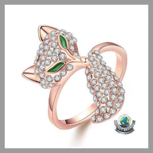 Womens 18K Rose Gold Bastet Ring Swarovski Elements (NE) - 6 - Rings