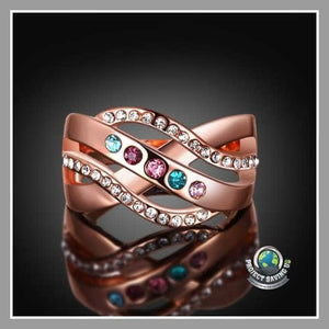 Womens Swarovski Elements RainbowGem-Insert 18K Rose Gold White Topaz Layer Ring (PD) - Rings