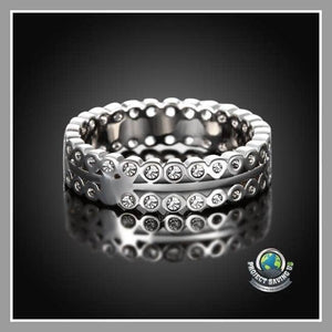 Womens 18K White Gold Italian-Cut Eternity Ring (FH) - Rings