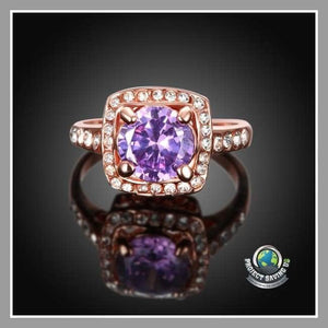 Womens 18K Rose Gold Amethyst Ring Swarovski Elements (NE) - Rings
