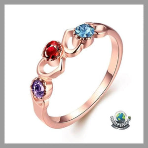 Womens 18K Rose Gold Triple Stone Ring Swarovski Elements (USO) - 6 - Rings