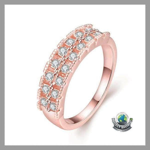 Womens 18K Rose Gold Middi Bar Ring Swarovski Elements (CC) - 5 - Rings