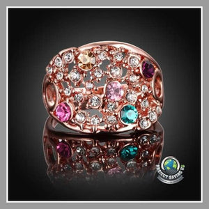Womens Swarovski Elements 18K Rose Gold Rainbow Multi-Color Ring (AF) - Rings