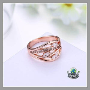 Womens Swarovski Crystal 18K Rose Gold Filled Floral Paisley Ring (WA) - Rings