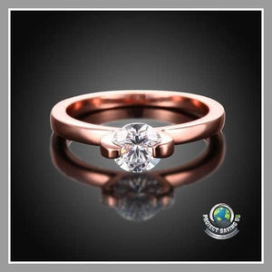 Womens Classic 18K Rose Gold Wedding Ring (AC) - Rings