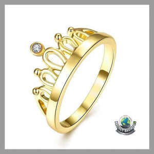 Womens Princess Stone Swarovski Crystal 18K Gold Ring (USO) - 6 - Rings