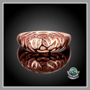 Womens 18K Rose Gold Carved-in Ring (WA) - Rings