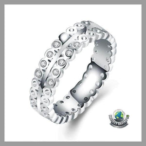 Womens 18K White Gold Italian-Cut Eternity Ring( FD) - 6 - Rings