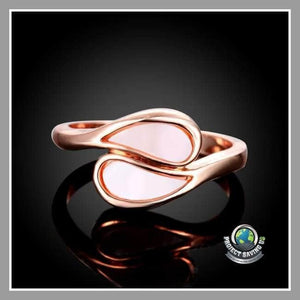 Womens 18K Rose Gold Double Tear Drop Ring (CC) - Rings