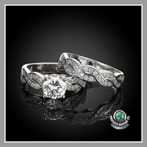 Womens 18K White Gold Double Layer Ring with Swarovski Elements (FH) - Rings
