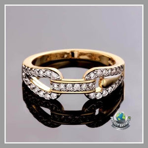 Womens 18K Gold Crystal Covering Band Ring (AC) - Rings