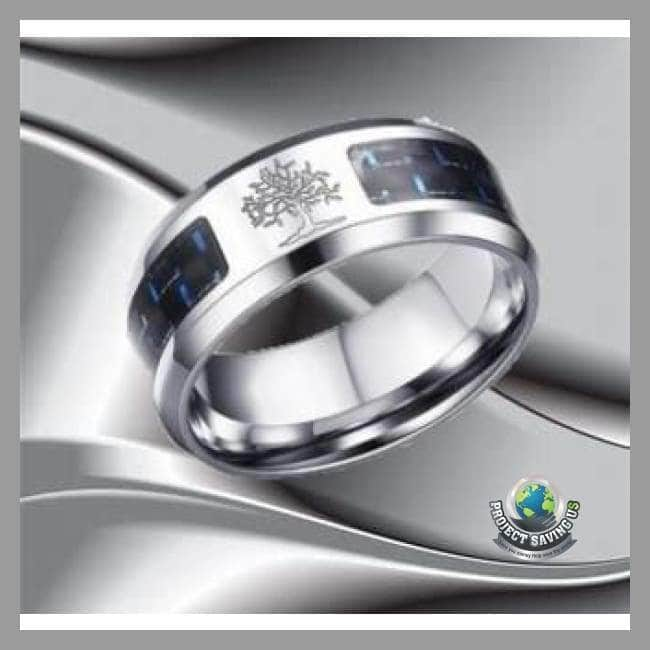 Carbon Fiber Engraved Tree Of Life Stainless Steel Casual Ring (PT) - Rings