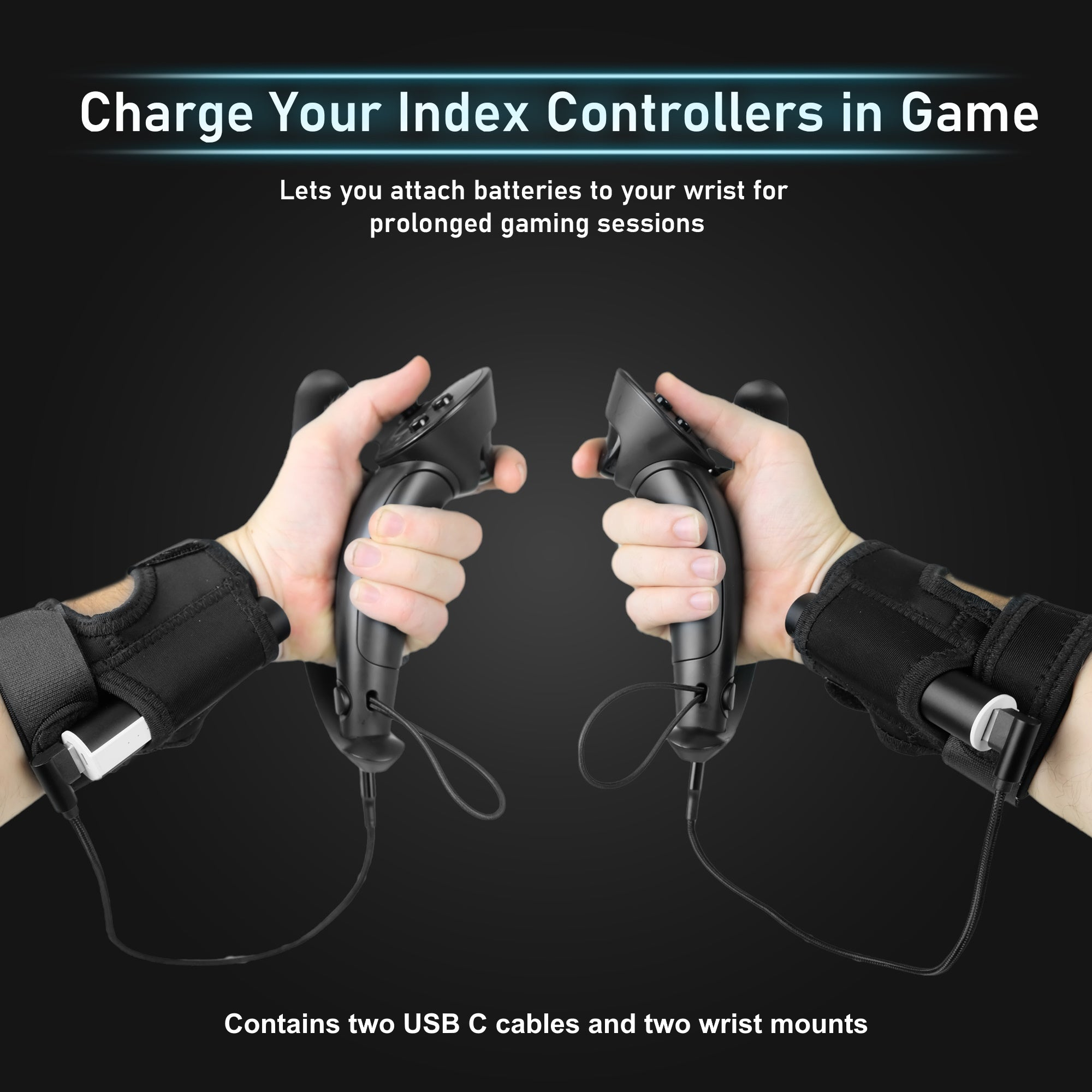 Valve Index Wrist Mounted Battery Kit - Accessory That Charges Your Controllers While Playing