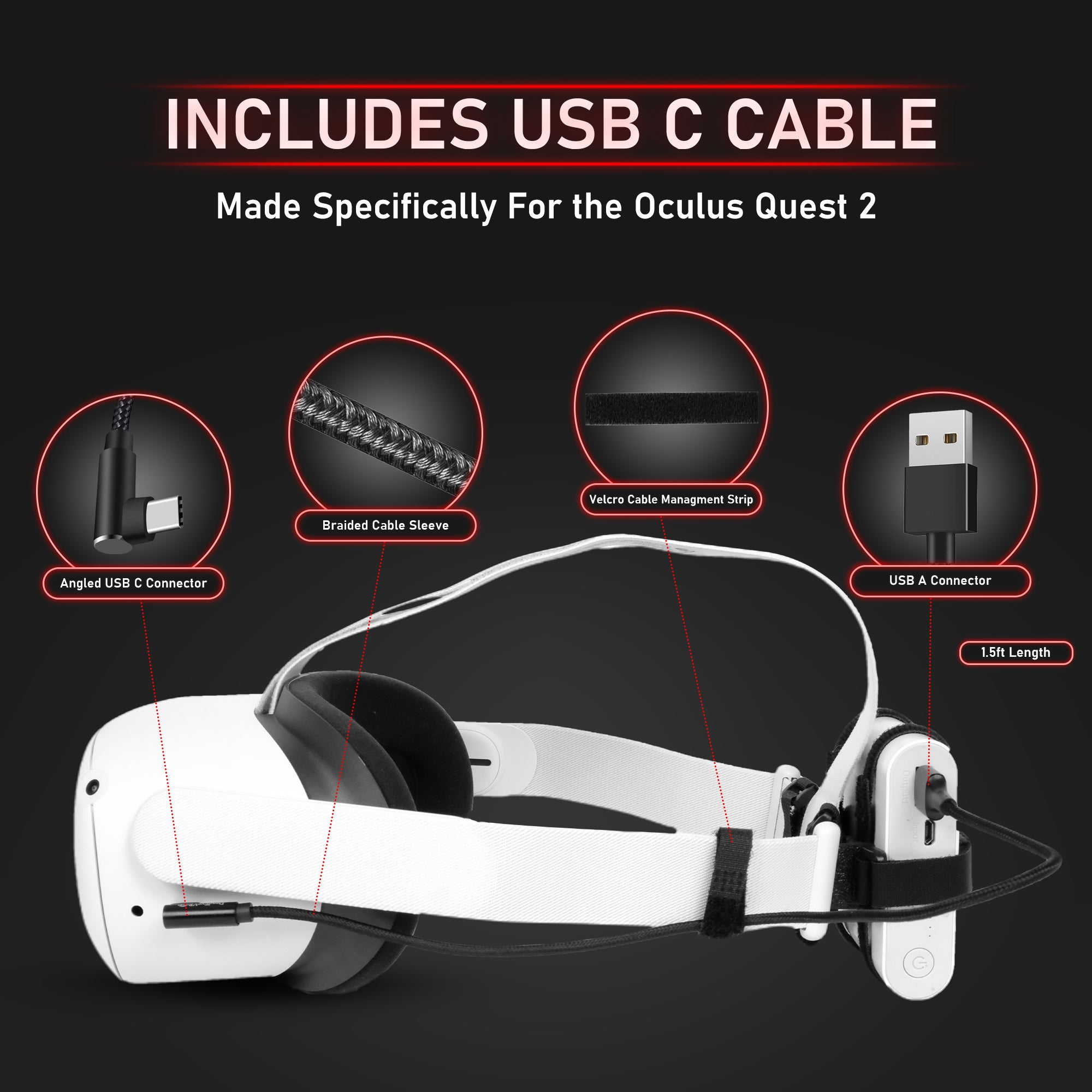 Universal Battery Mount Kit with USB C Cable - Battery Holders That Fit Any USB Power Bank For the Oculus Quest