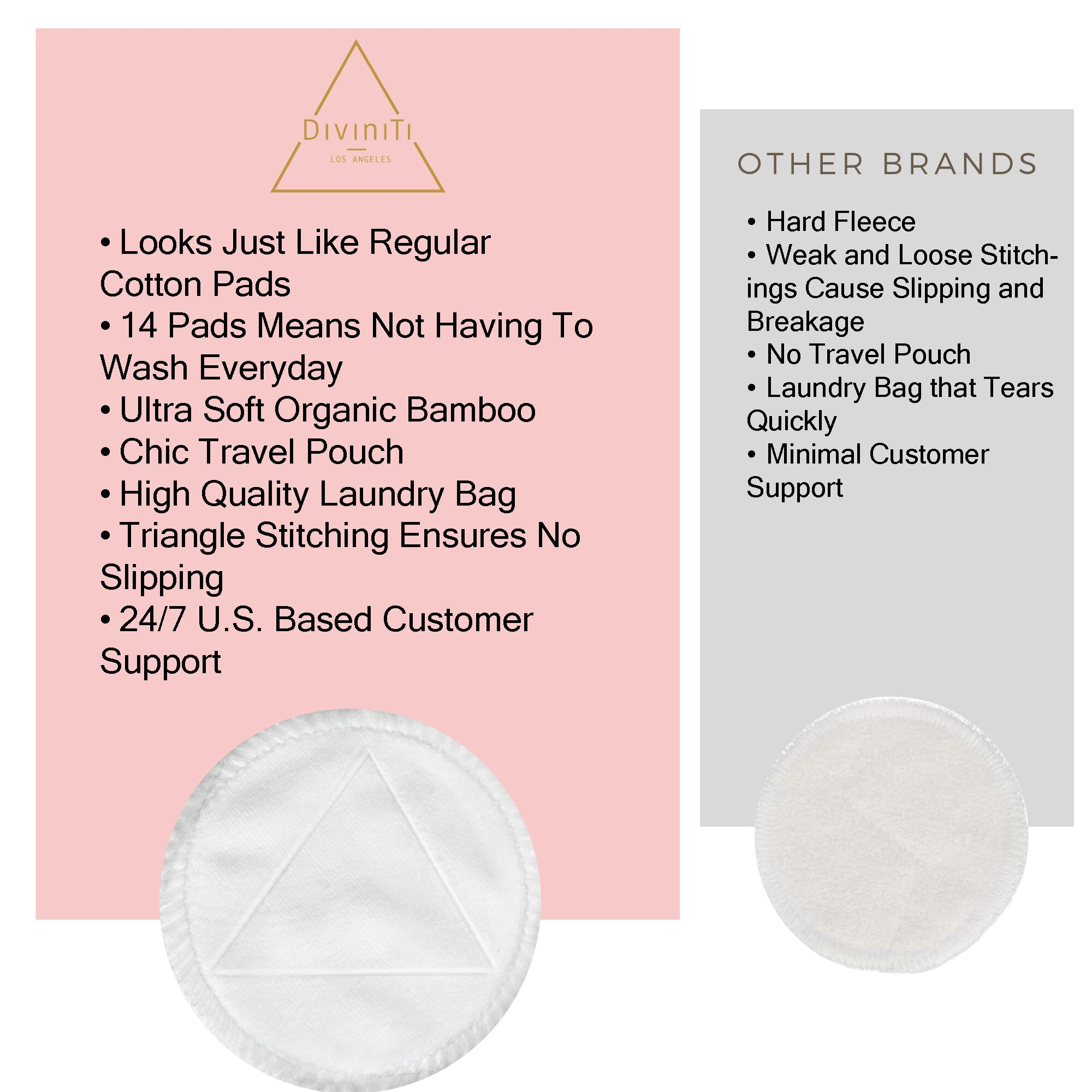 Bamboo Reusable Makeup Remover Pads in White