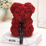 Rose Bear - 25CM Red Rose Teddy Bear With Artificial Rose Flower