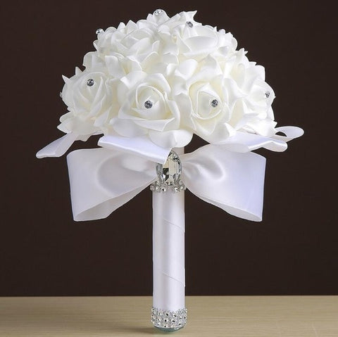 Foam flowers Rose - Bouquet Ribbon Artificial Rose