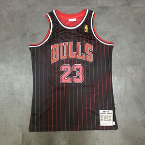 new arrival f65d7 20e16 Micheal Jordan Black Red Stripe Embroidered Throwback Jersey