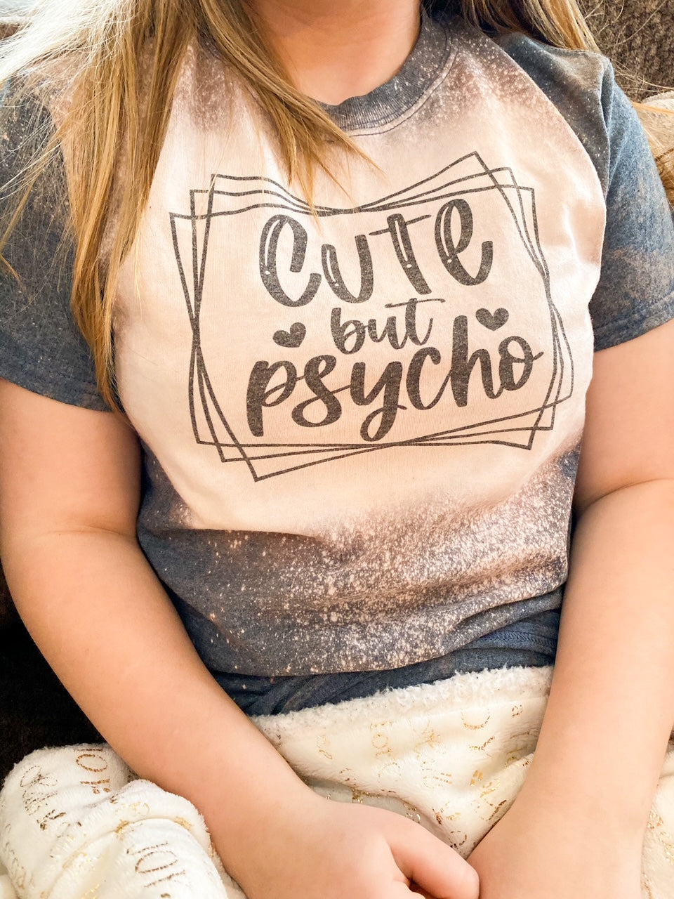 Cute but Psycho Bleached Graphic T shirt