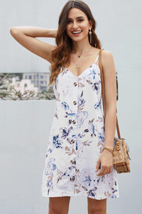 White Floral Pattern Buttoned Slip Cami Dress