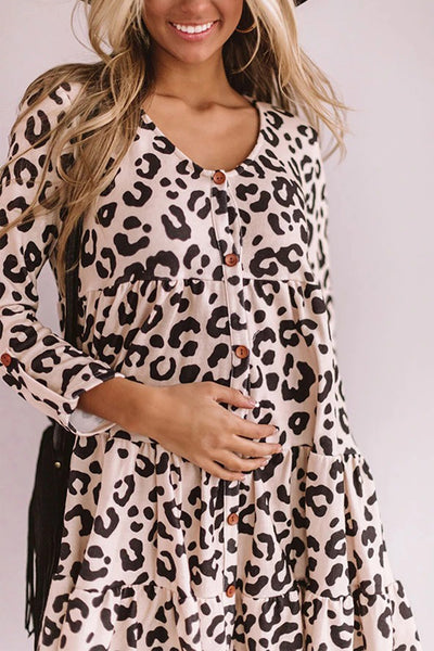 Pink Leopard Tiered Baby Doll Dress