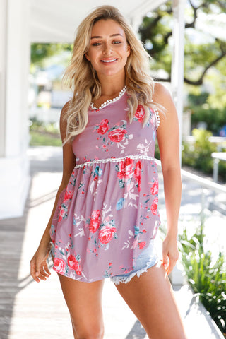 Dusty Pink Floral Pompom Lace Trim Tank Top