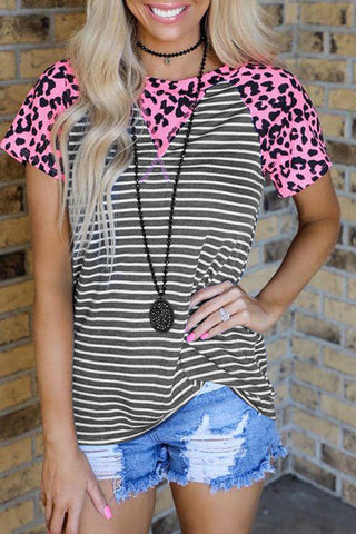 Leopard Print Gray Striped Fashion Top