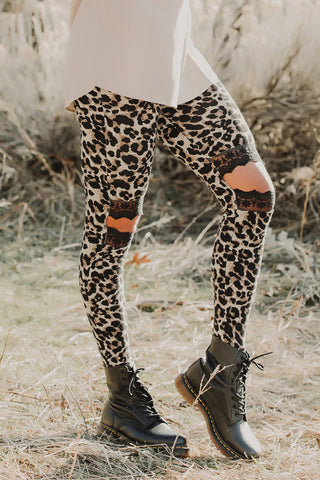 Hollow Out Brown Leopard Printed Skinny Leggings